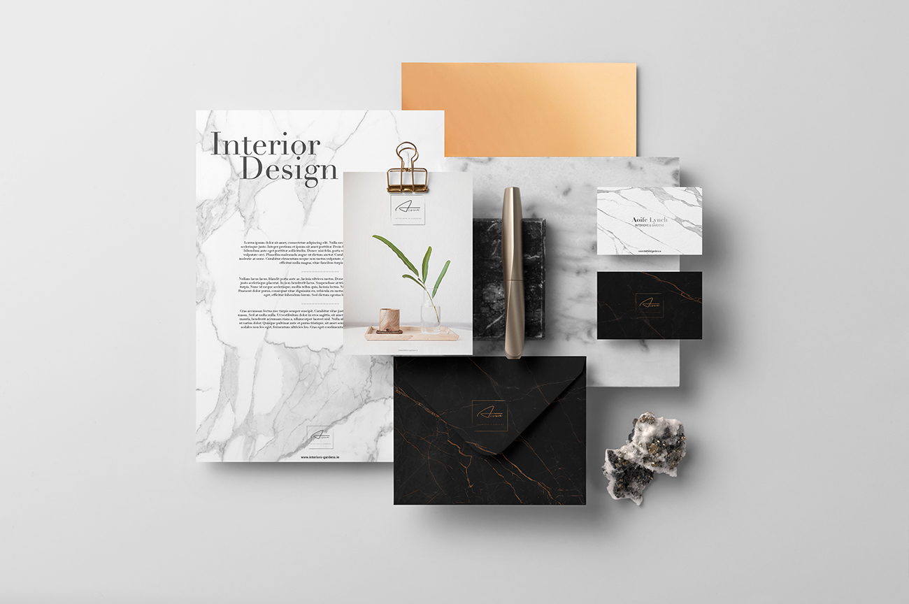 Luxury stationery design for the interior designer Aoife Lynch Interiors and Gardens Blackrock Dundalk Ireland