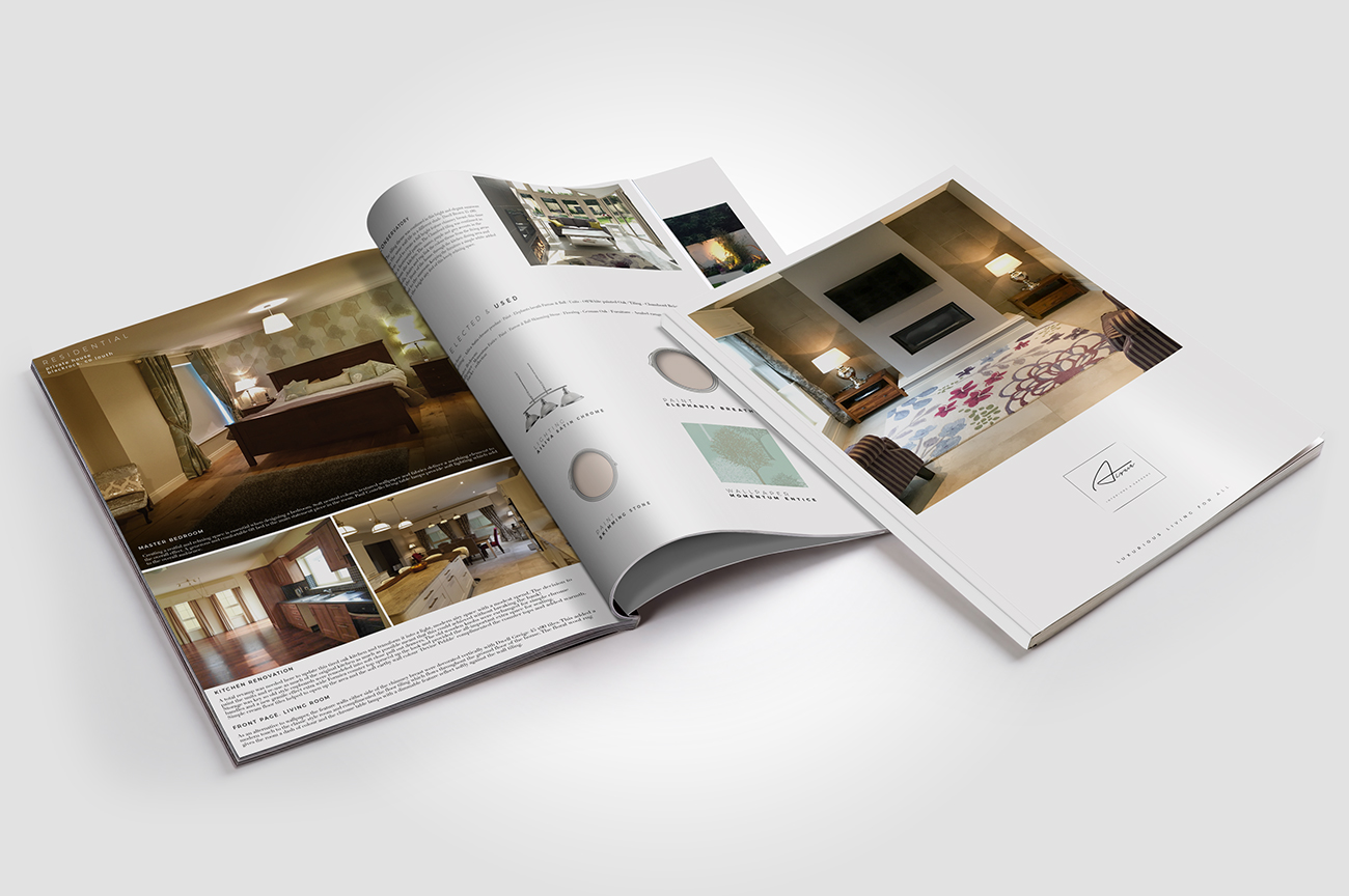 Inner pages and front page portfolio brochure design for the interior designer Aoife Lynch, Blackrock, Co Louth, Ireland