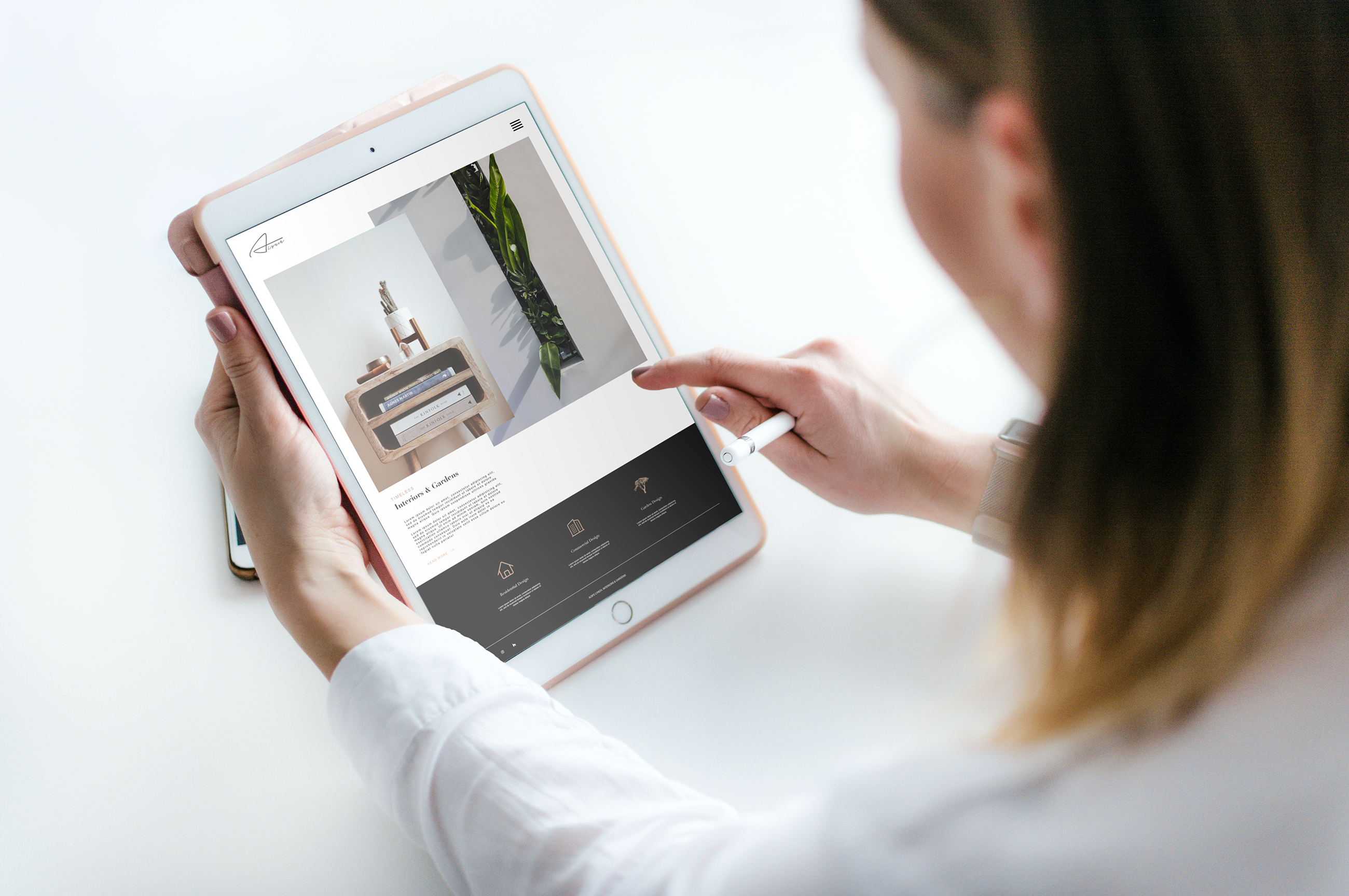 Mobile friendly / responsive website design for the interior designer Aoife Lynch Interiors and Gardens