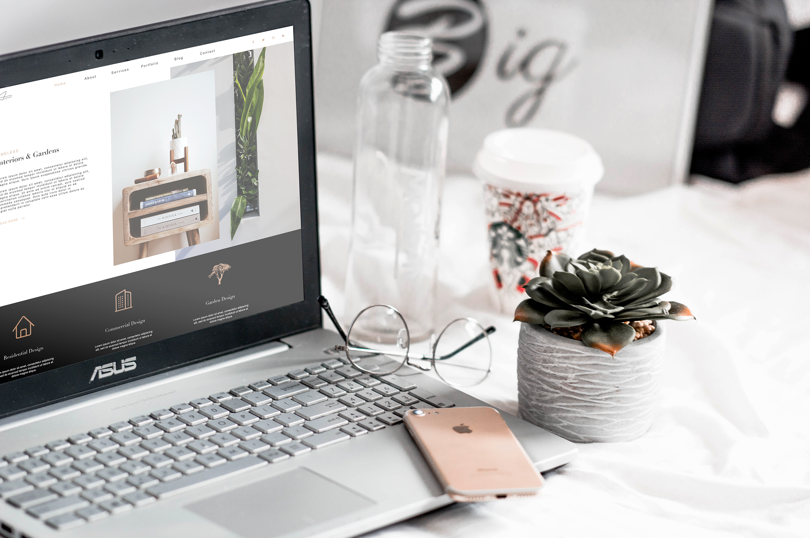 Stylish portfolio web design for the interior designer Aoife Lynch Interiors and Gardens