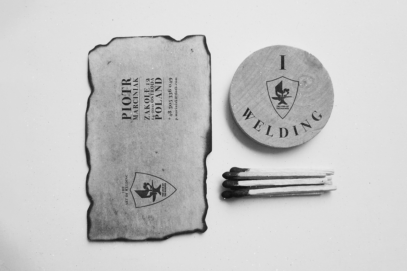 Creative business cards design for the blacksmith and welding artist The Lord Of The Burner.