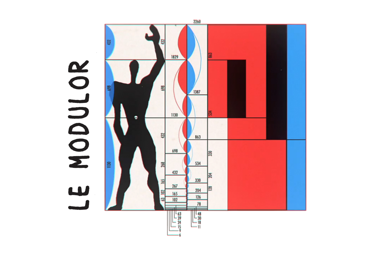 Le Corbusier proportions for magazine advertisement and architecture.