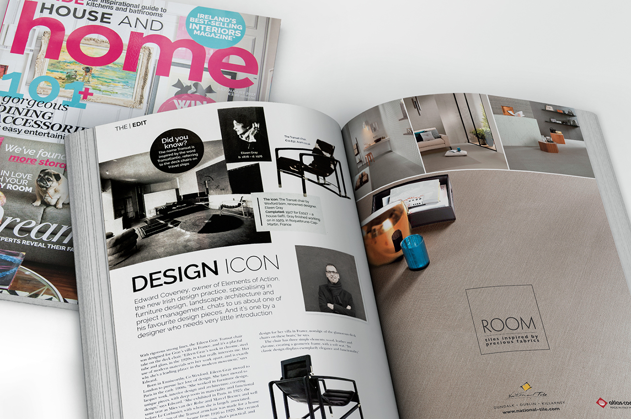 Architects and interior designers magazine advertisement design for the ceramic tiles collection Room. House and Home Magazine Ireland.