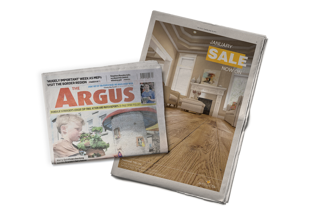 Dundalk's newspaper the Argus advertsement design for the January wood flooring sale campaign.