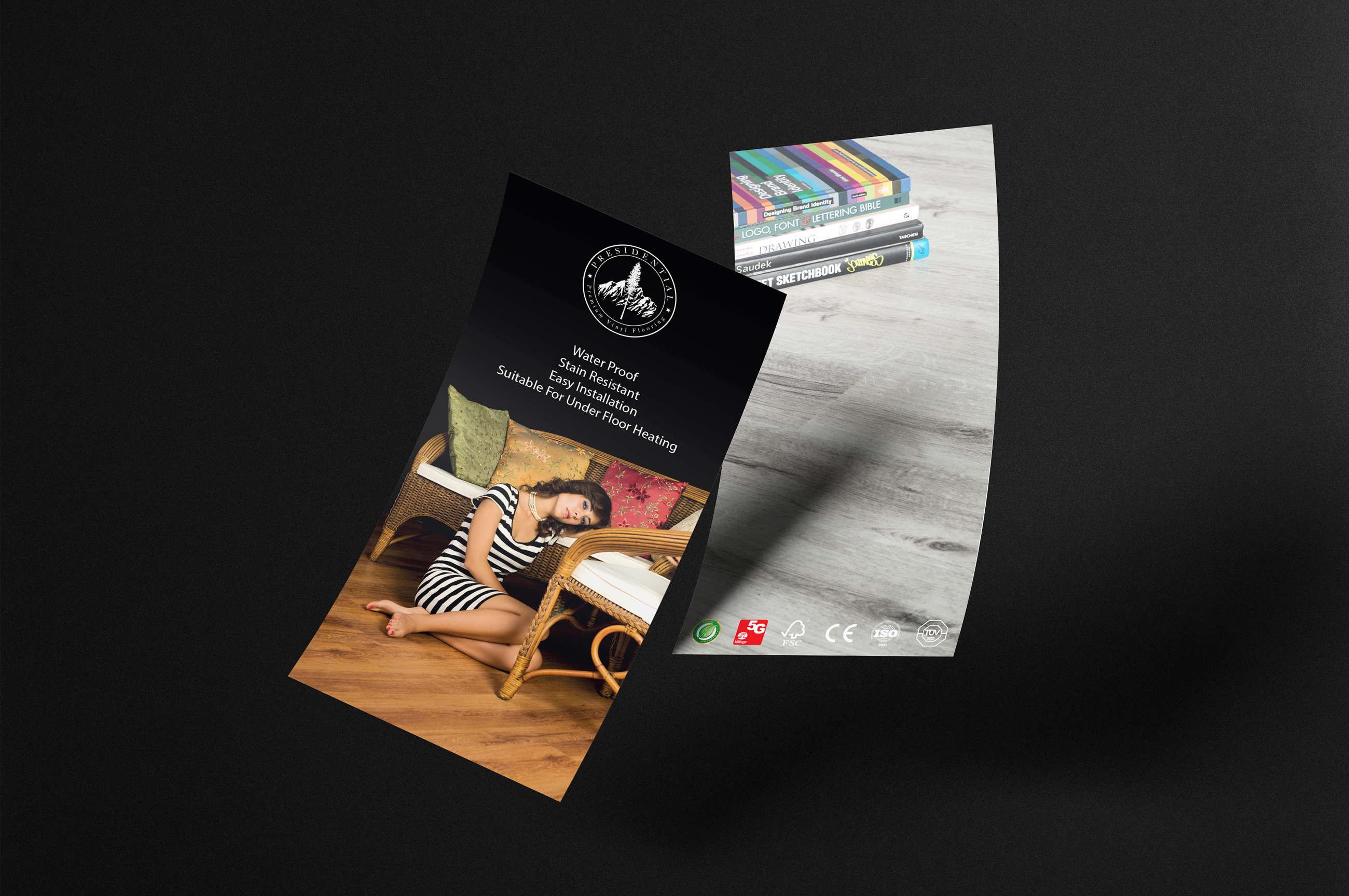 Promotional flyer design for the premium vinyl flooring collection Presidential