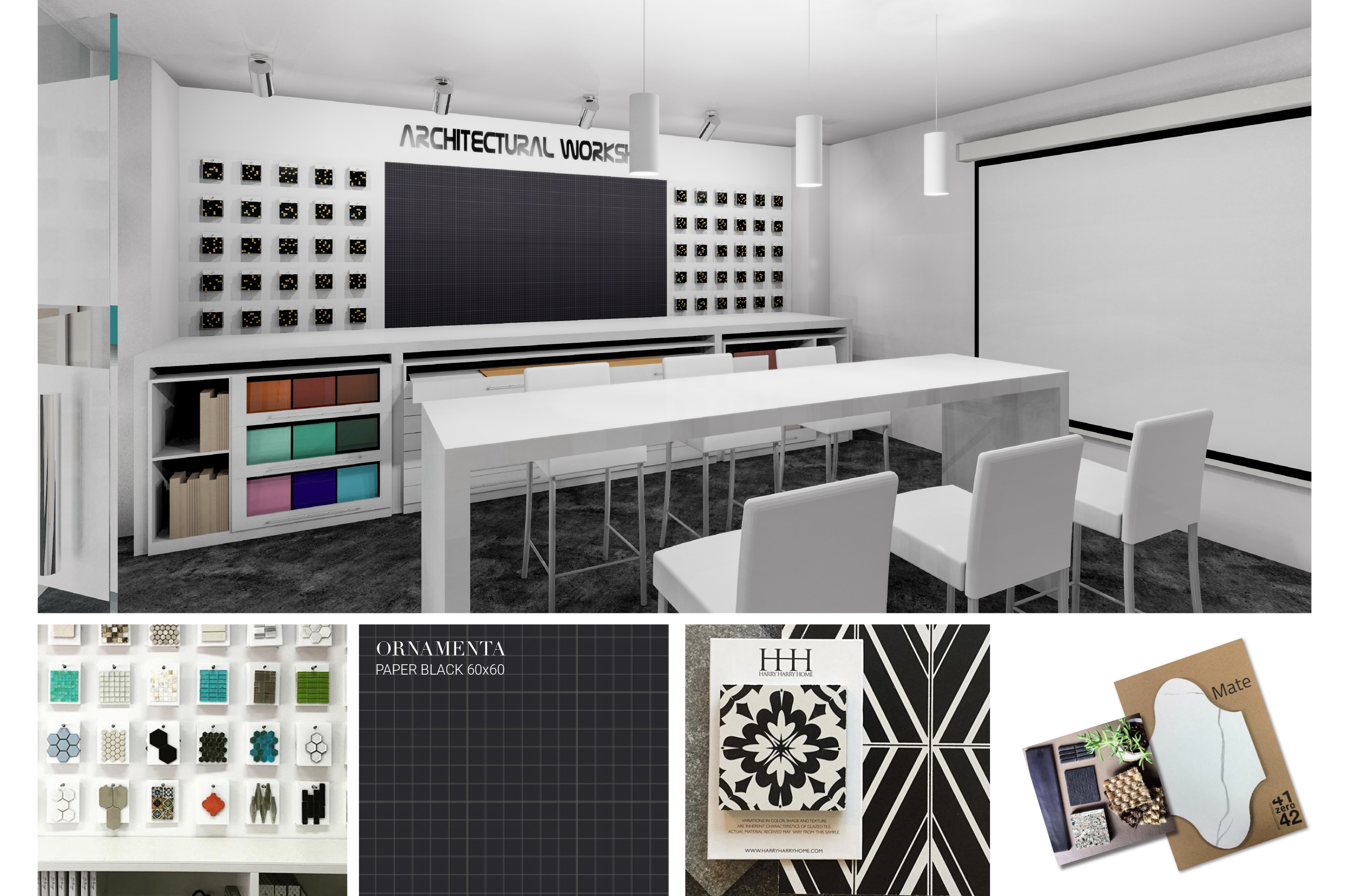 Tile Mountain showroom interior design - workspace for architects and interior designers