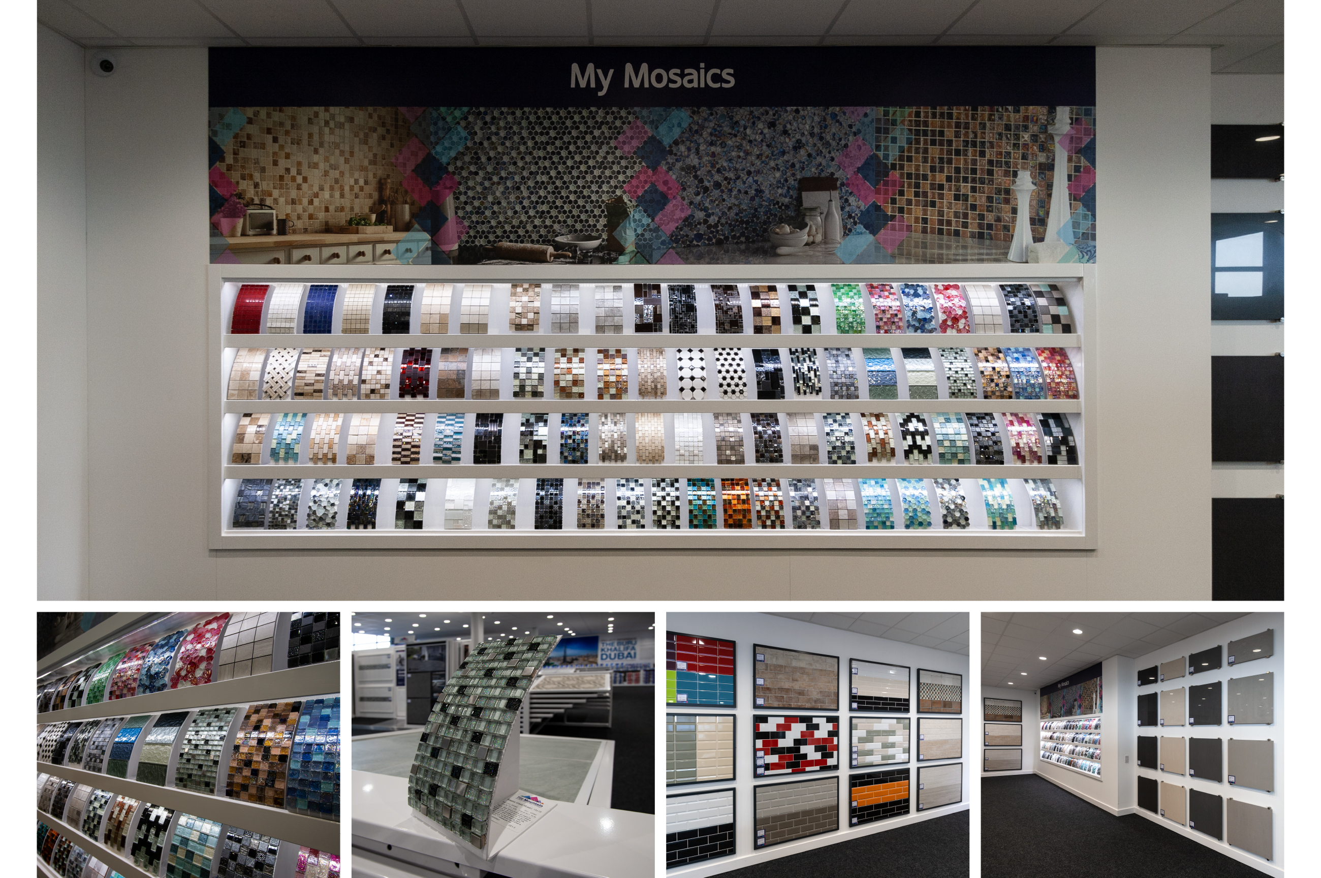 Tile Mountain showroom interior design - mosaic and kitchen wall tile displays